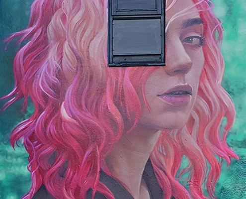 IRONY | London - Camden | Young woman with pink hair | Picture 2019-12-23 by About Street Art